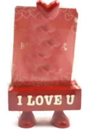 Фоторамка (6,5х9см) на ножках красная My Body - I Love You
