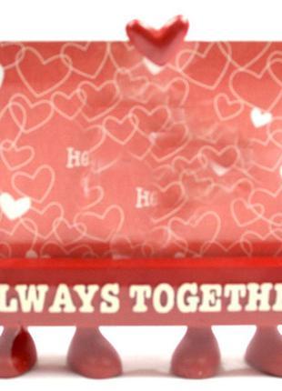 Фоторамка (9х13см) на ножках красная My Body - Always Together