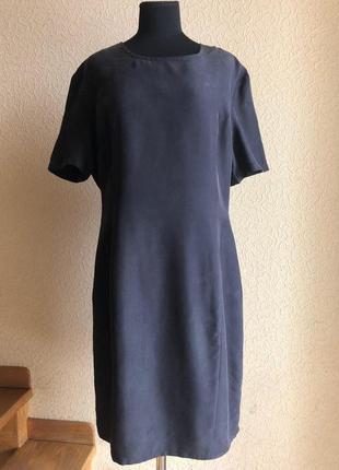 Платье футляр черное шелковое 100% шелк по колено миди