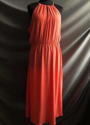 Платье миди оранжевое ниже колена летнее легкое even&od