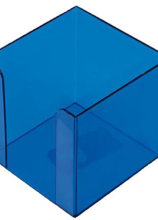 Бокс для бумаги 90х90х90мм Арника пластик синий прозрачный