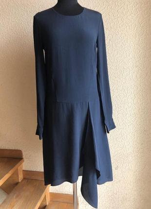 Черное шелковое летящее летнее миди платье по колено 100% шелк