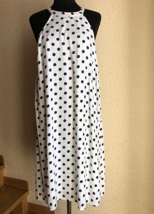 Белое в горошек по колено миди натуральное платье vero moda