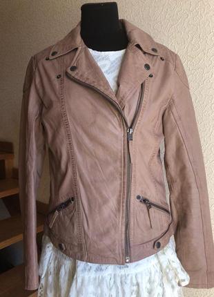 Кожаная куртка косуха бежевая от бренда  gipsy