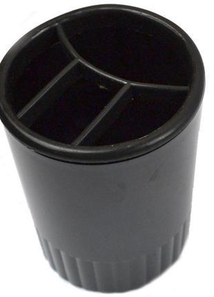 Стакан для ручек пластик 4 отделения круглый Арника черный