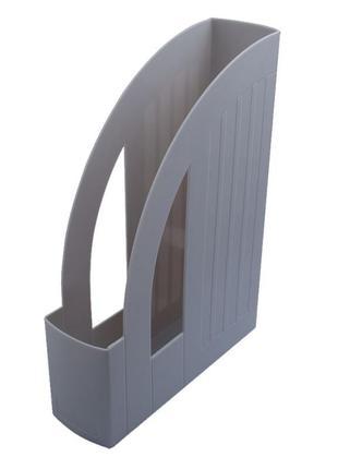 Лоток вертикальный настольный 1 отделение Арника пластик серый
