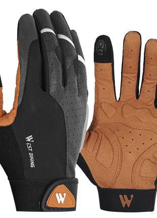 Перчатки с сенсорным откликом West Biking 0211197 M Brown (494...