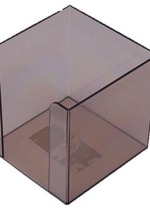 Бокс для бумаги 90х90х90мм Арника пластик дымчатый прозрачный