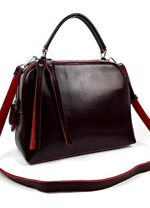 Женская кожаная бордовая сумка