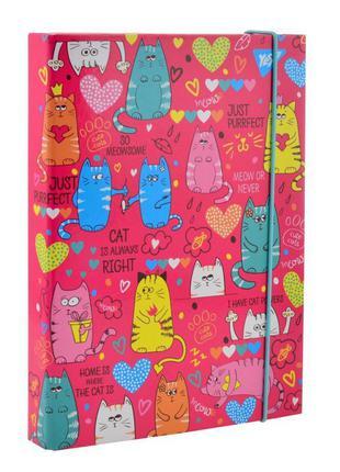 Папка для тетрадей В5 картон на резинке Yes Lovely Cats 2,5см