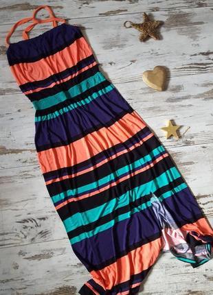 Длинное трикотажное платье сарафан яркое