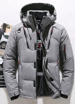 Зимняя мужская куртка со съёмным капюшоном