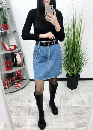 Джинсовая винтажная юбка винтаж высокая посадка