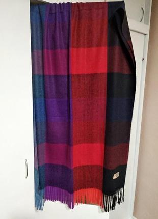 Теплый женский разноцветный шарф палантин в клетку из пашмины