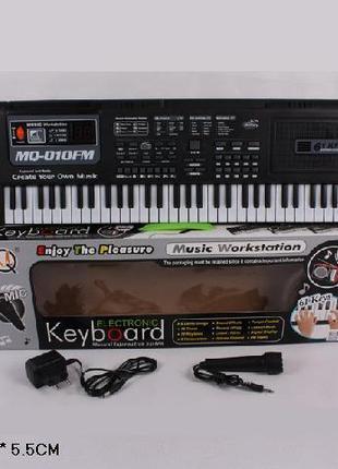 Орган пианино 010FM синтезатор от сети, 61 клавиша, с микрофон...