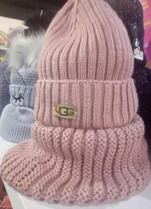 Зимний комплект, шапка, снуд
