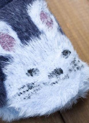 Зимние ангоровые варежки детские на махре, 3-6 лет