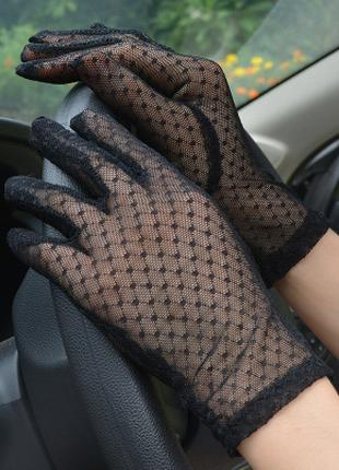 Перчатки сеточка черные ажурные короткие новые ретро