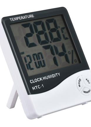 Термометр-гигрометр с часами и будильником HTC-1