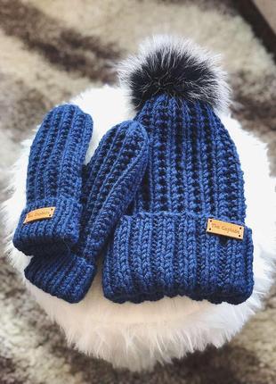 Вязаный набор шапка с помпоном+варежки the captain