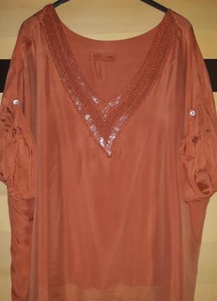 Яркая шелковая блуза блузка туника , италия
