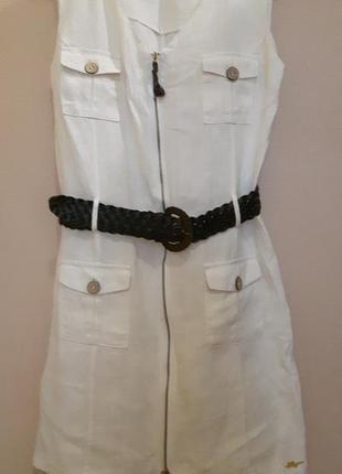 Белое льняное платье с поясом, 100% лен