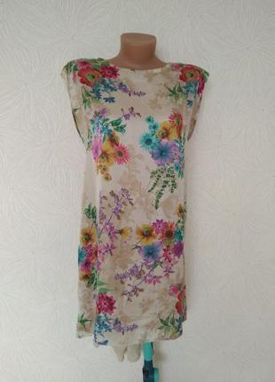 Платье-туника шифон атлас с-м размер принт цветы