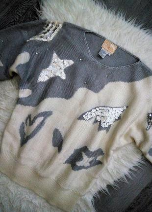 Крутой 😱😍натуральный джемпер свитер молочного цвета с серебрян...
