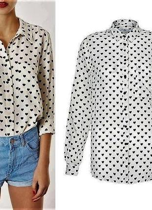 Белая рубашка в сердечки от new look