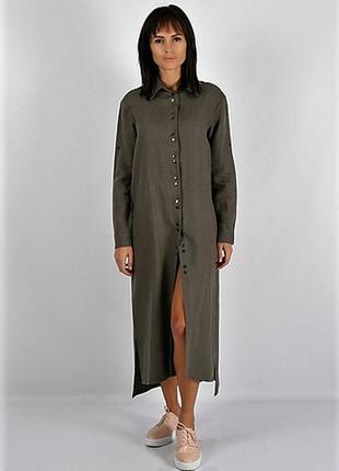Трендовое 😍длинная платье-рубашка хаки с разрезами спереди от ...