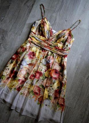 Шёлковое цветочное платье в  бельевом стиле