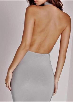 Облегающее  платье с открытой спиной,чокером, 💙