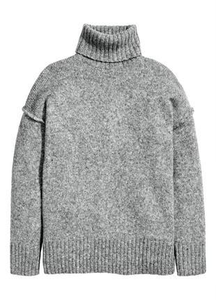 Свободный тёплый серый свитер/джемпер/туника с шерстью альпаки