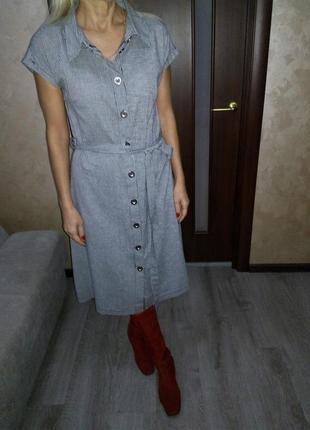 Трендовое миди платье-рубашка на пуговицах,с пояском бренда re...