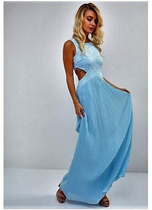Шифоновое💎 платье макси-плиссе с кружевом ,открытыми боками 👗