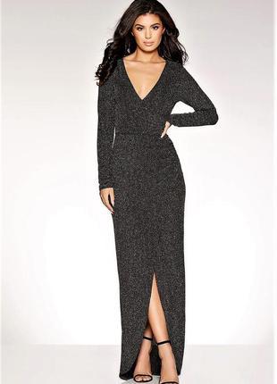 Сногсшибательное 💣вечерние блестящие платье на запах v вырез  ...