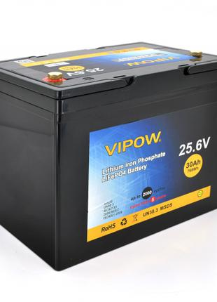 Аккумуляторная батарея Vipow LiFePO4 25,6V 30Ah ВМS 25A Аккуму...