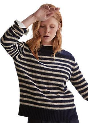 100% шерсть мериноса💎  шерстяной джемпер свитер в полоску