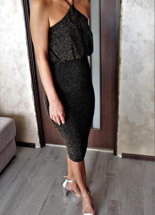 Сексуальное облегающие блестящие люрексовое платье с красивой ...