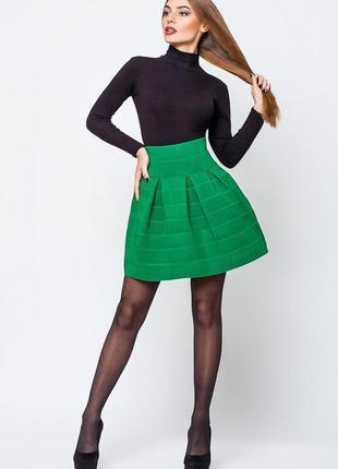 Стильная зелёная бандажная юбка-колокол💞 на высокой талии
