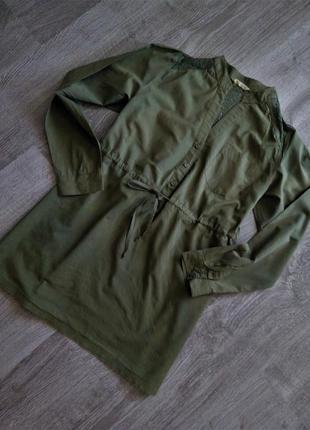 Удлинённая коттоновая  блуза-рубашка  с кружевной  спинкой😍,