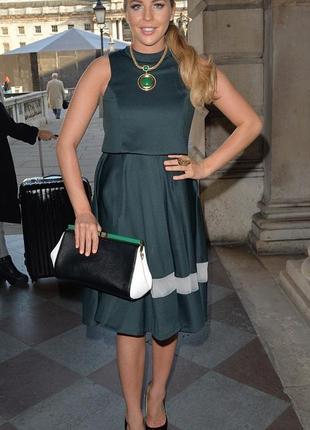 Потрясающее дизайнерское миди платье бутылочного цвета  lavish...