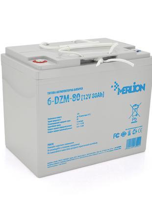 Тяговая аккумуляторная батарея AGM MERLION 6-DZM-80, 12V 80Ah ...