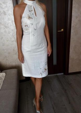 Льняное коттоновое платье с вышивкой 👗s-m