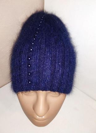 Стильная женская синяя ангоровая шапка с жемчугом odyssey украина