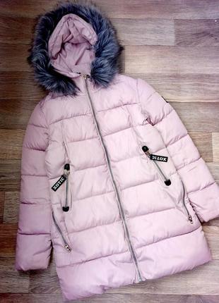 Куртка зимняя на синтепоне с капюшоном с мехом курточка