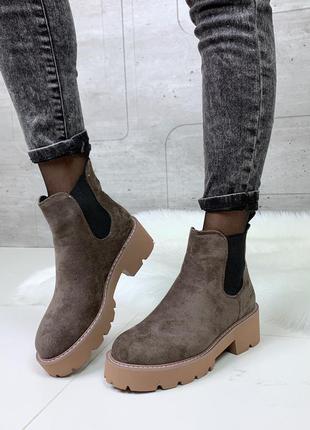 Демисезонные ботинки челси цвета кофе