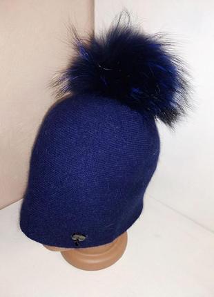 Женская синяя ангоровая шапка odyssey с натуральным меховым по...