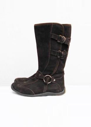 Натуральные замшевые кожаные зимние высокие теплые сапоги