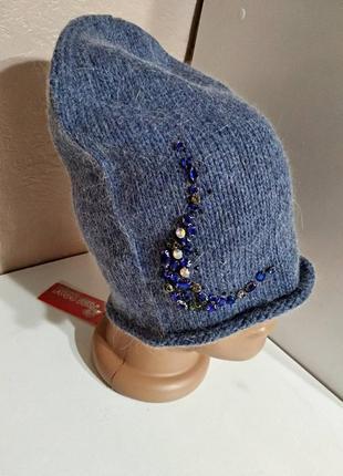 Женская синяя ангоровая шапка с камнями